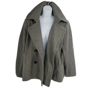 J Crew Pea Coat Gray Wool Double Breasted Lined